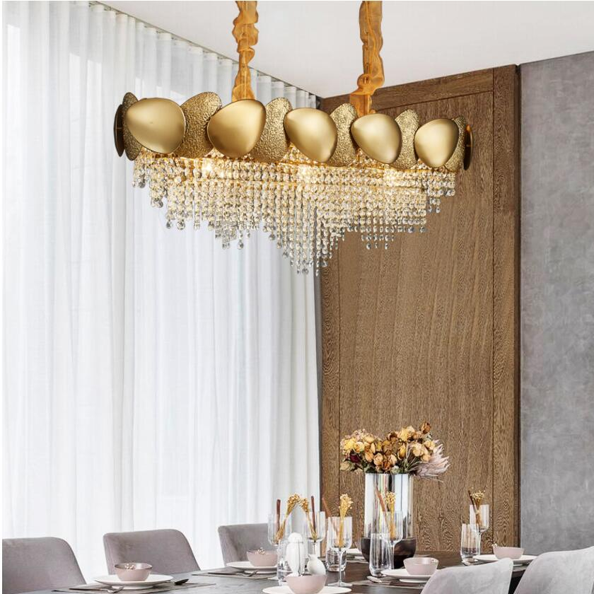 US $882.0 30% OFF|New modern luxury crystal chandelier living room dining  room bedroom model room rectangle gold LED light designer chandelier-in ...