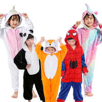 Children Unicorn pajamas boys girls flannel kids stitch pajamas set animal pajamas winter Onesies Unicornio sleepwear