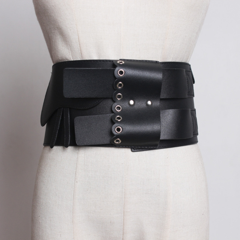 2020 New Spring Fashion Belts For Women Solid Black Leather Corset Belt Metal Buckle Cross Waistband Female Trendy Stylish ZK428