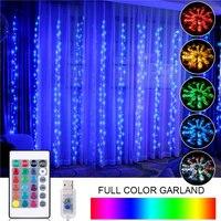 3M LED şerit perde ışığı USB RGB tam renkli Garland düğün için LED noel yeni yıl partisi dış mekan ışıkları dekorasyon Salon