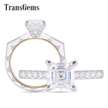 transgems 14k white gold cross shaped 1 1 ctw 3mm f color moissanite brilliant cross pendant necklace for women birthday gifts Transgems 14K 585 White and Yellow Gold Center 6mm 1Carat Asscher F Color Moissanite Engagement Ring for Women