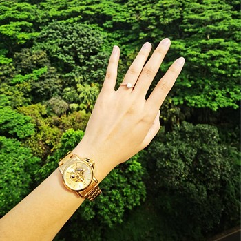 WINNER Watches Women Fashion Watch 2020 Automatic Mechanical Golden Heart Skeleton Dial Stainless Steel Band Elegant Lady Watch 5
