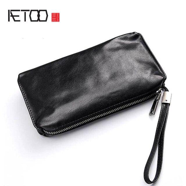 AETOO sac à main en cuir souple pour hommes, sacoche long rétro décontracté, sacoche pour téléphone portable