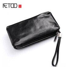 AETOO 핸드 가방 남자의 부드러운 가죽 복고풍 캐주얼 긴 지갑 남자의 첫 번째 레이어 가죽 휴대 전화 가방