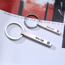 Keyring Key-Chains Stainless-Steel Minimalist Personalized Name Dad 3d-Bar Square Vertical