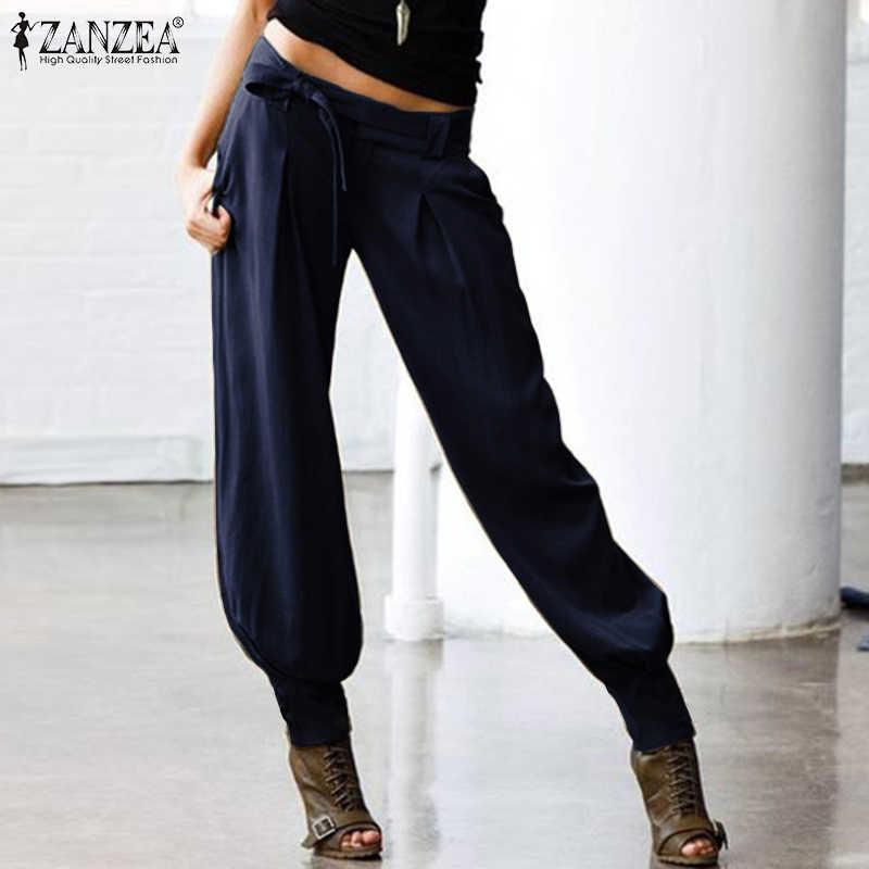Zanzea Vrouwen Lage Taille Sexy Broek Dames Casual Terug Elastische Taille Lange Broek Vrouwelijke Cargo Zakken Belted Harem Streetwear