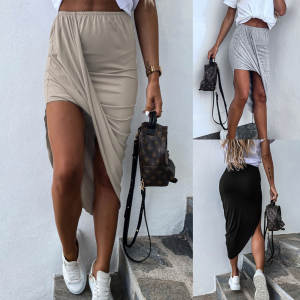 Summer Skirt Irregular Elastic Ruffled Sexy High-Waist Women Thin Creases Pure-Color