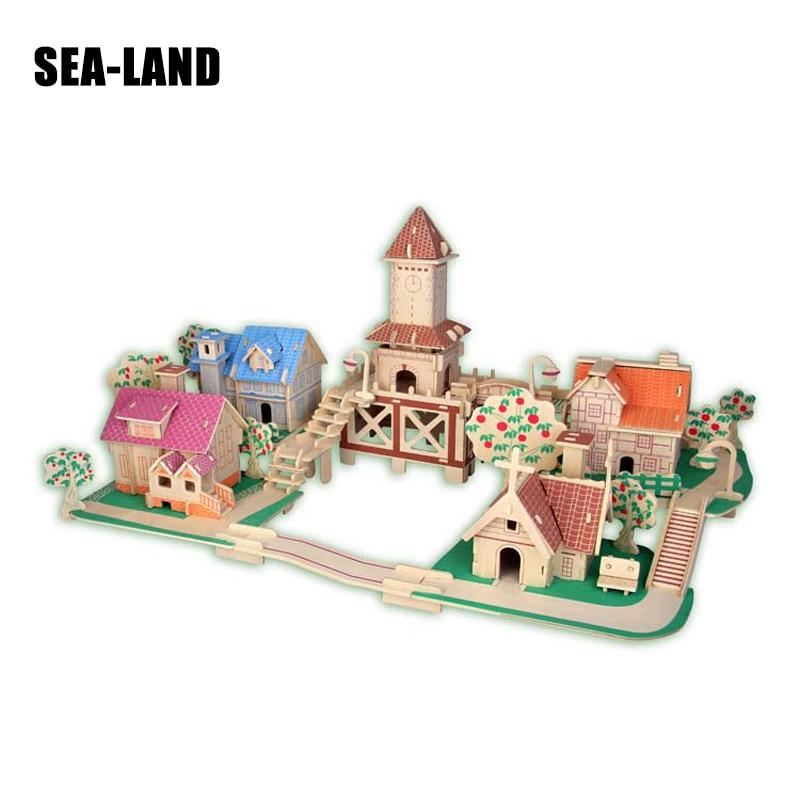 3D enfants bâtiments colorés jeu de Puzzle jouet européen romantique ville qualité Puzzles en bois Intelligence jouet éducatif