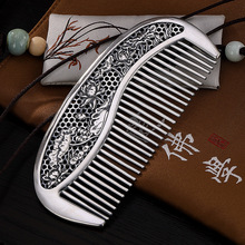 999 Чистое серебро ретро полый лист лотоса серебряная с подвесом расческа личности Творческие волосы расческа