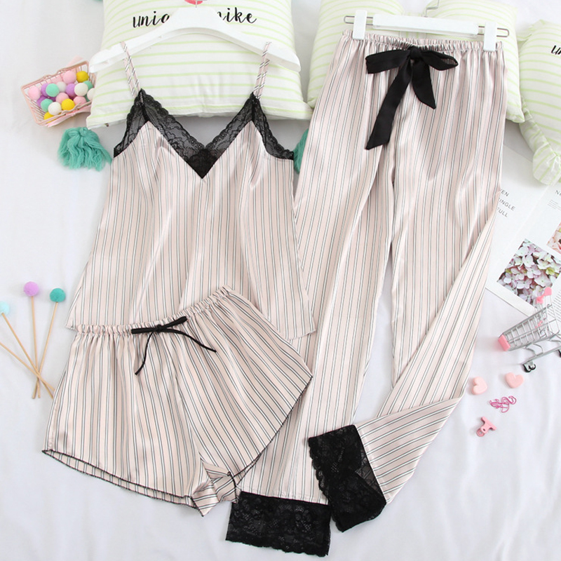 Stain Silk Sexy Lace Pajamas Stripes Pyjamas Spaghetti Strap Sleepwear For Women Comfortable Homewear 3 Piece Pijamas 2020