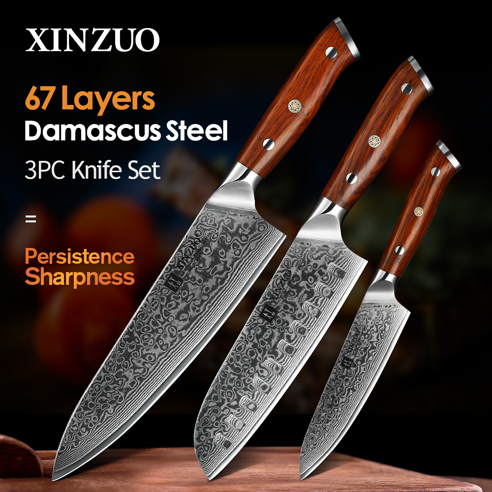 XINZUO 1PCS or 3PCS Kitchen Knife Sets Japanese forged Damascus Steel Chef Santoku Knives Stainless Steel Rosewood Handle