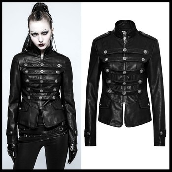 PUNK RAVE Punk Rock Cool Women Biker Leather Jacket Coat Black Long Sleeve Streetwear slim fit Short Jacket