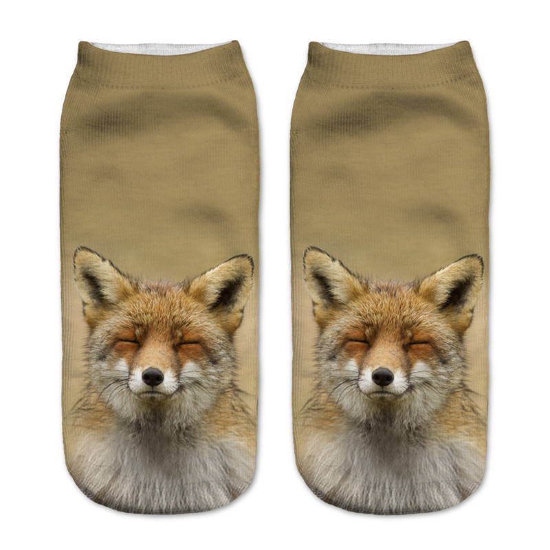 1pair 3D Lovely Fox Animal Printed Sock Men New Unisex Cute Low Cut Ankle Sock High Quality For New Year Socks Comfortable
