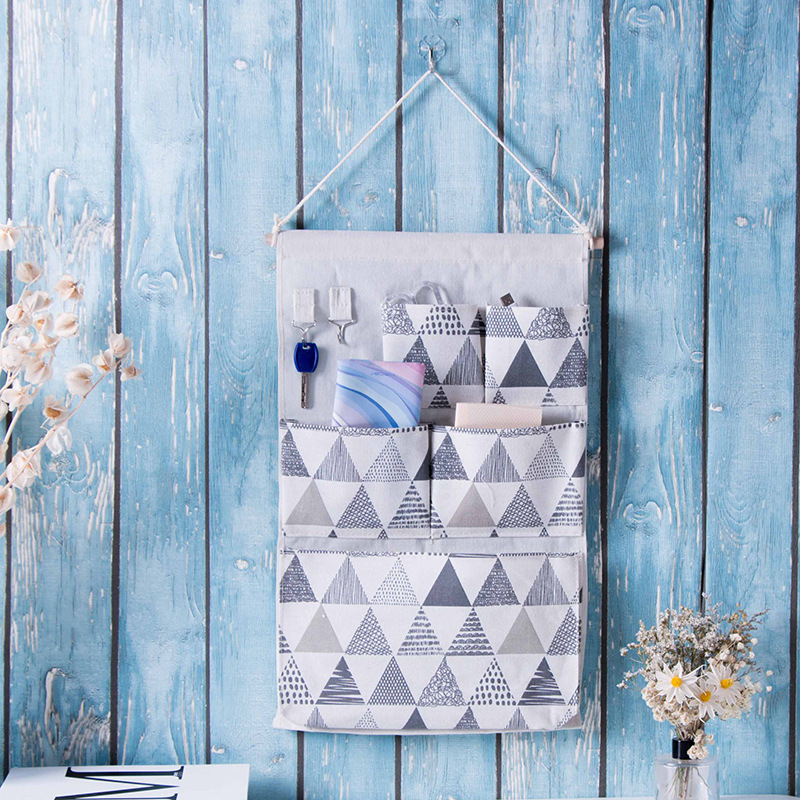 55*34cm Washable Wall Hanging Storage Bag Home Kitchen Door Organizer with 5 Pocket and Key Hook