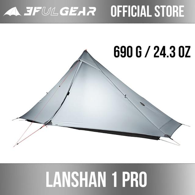3F UL GEAR official Lanshan 1 pro  Tent Outdoor 1 Person Ultralight Camping Tent 3 Season Professional 20D Silnylon Rodless