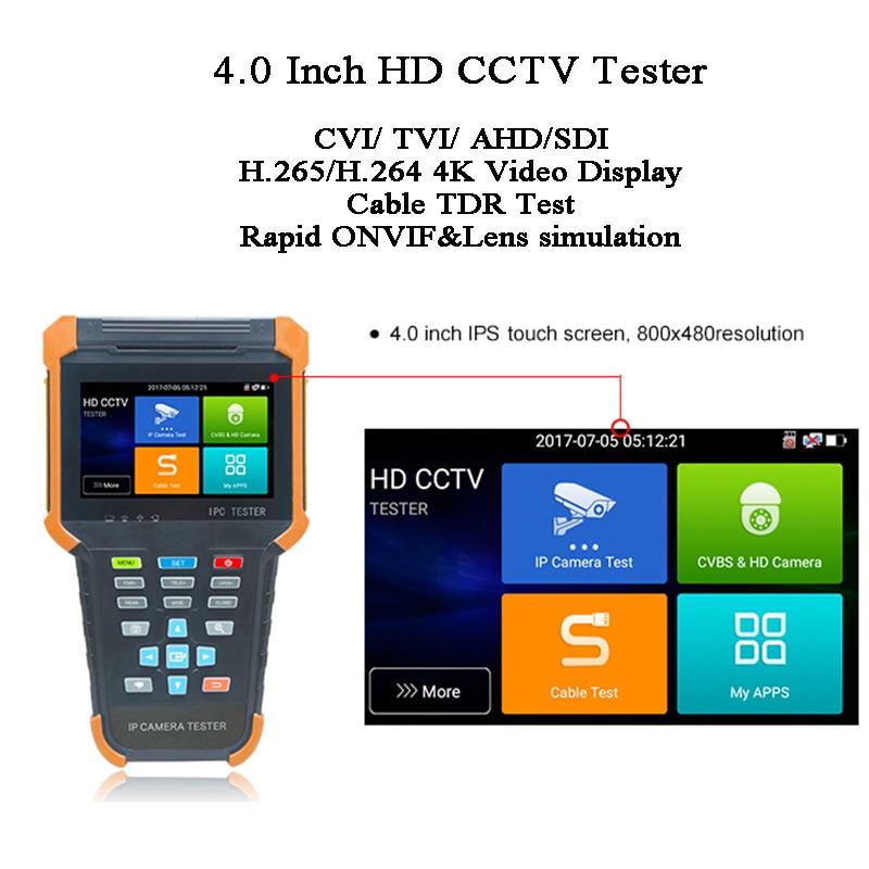 4 Inch H.265 264 IP Display IPS Touch CVBS Test HDMI 1080P PoE ONVIF 8MP CVI TVI AHD 3G-SDI PTZ Control Camera Video CCTV Tester