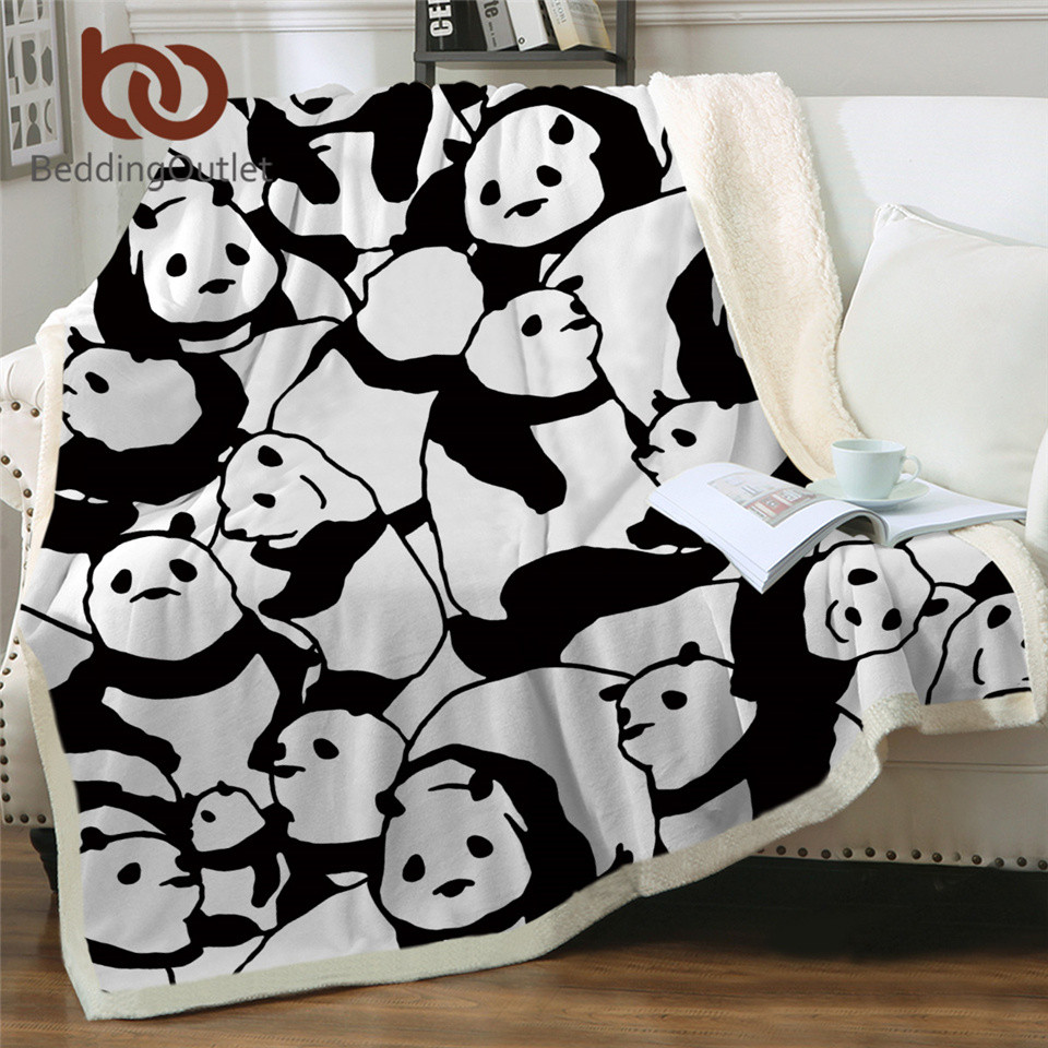 BeddingOutlet Sherpa Blanket Throw Blankets Black and White Cute Pandas Bed Blankets Crystal Velvet Fleece Sherpa TV Blanket(China)