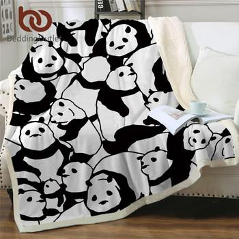 BeddingOutlet Sherpa koc rzut koce czarno-białe śliczne pandy narzuty na łóżko kryształ aksamitna bluza Sherpa TV koc tanie i dobre opinie CN (pochodzenie) Przenośne Anty-pilling Nadające się do noszenia cartoon Wiosna jesień Sherpa Blanket Jakość Panda Blanket