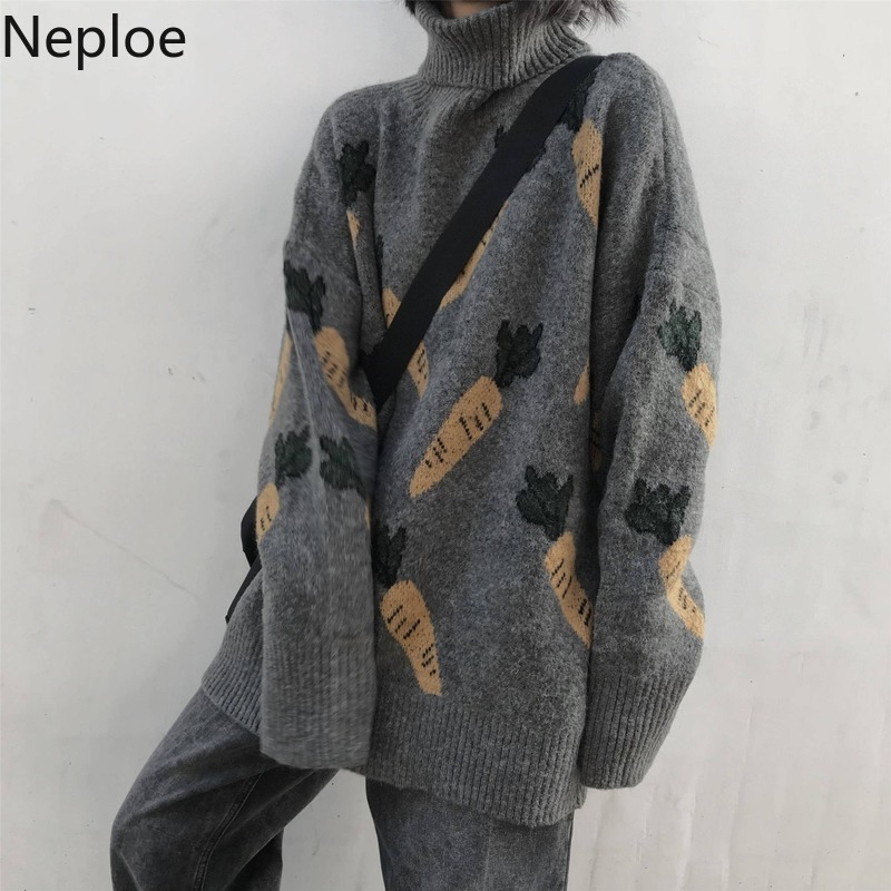 Neploe Carrot Pattern Women Sweater Winter Korean Turtleneck Full Sleeve Pullovers Loose Fashion Knitted Female Sweaters 80398