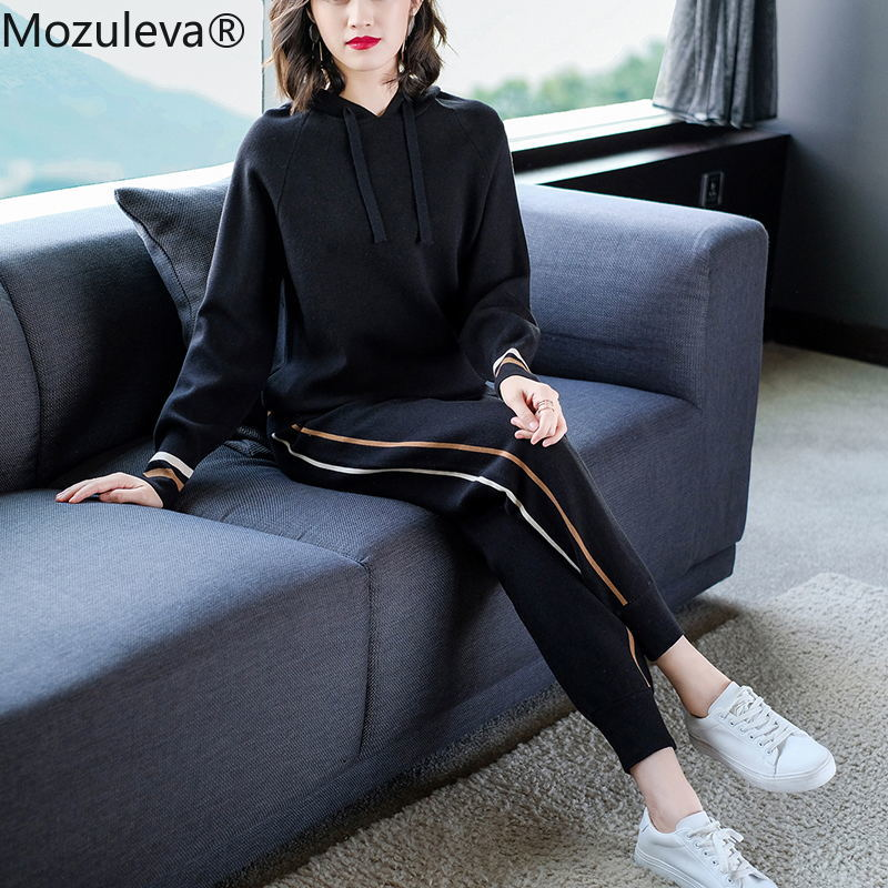 Mozuleva Autumn New Women's Fashion Casual Suit Travel Running Sportswear Long-sleeved Jacket Trousers Two-piece 2019 Femme Sets
