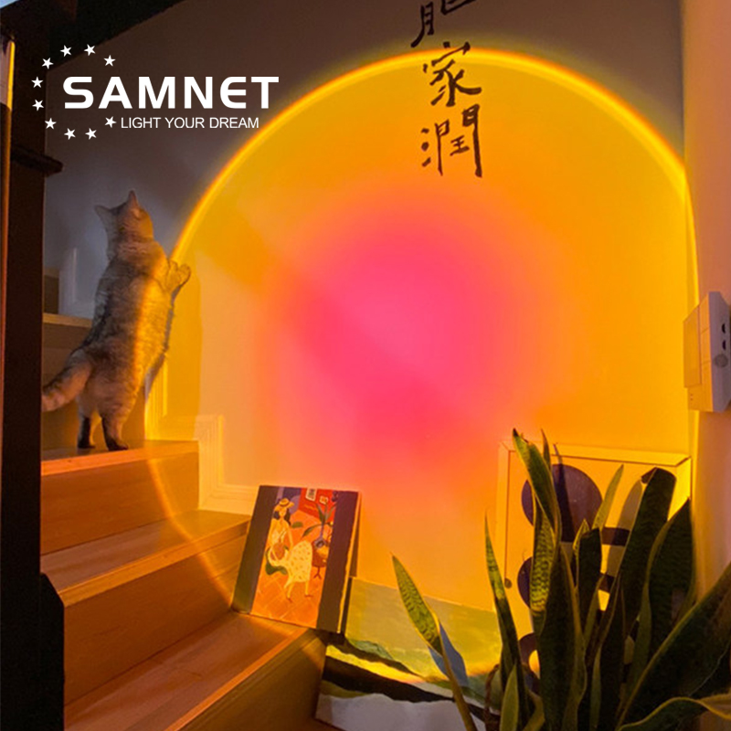 Sunset Projection Night Lights Live Broadcast Background Like Galaxy Projector Atmosphere Rainbow Lamp Decoration For Bedroom 2