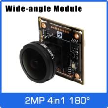 Súper ancho ángulo panorámico AHD cámara de 180 grados 4 en 1 Módulo de tablero con lente ojo de pez UTC Control Coaxial OSD 11 idiomas