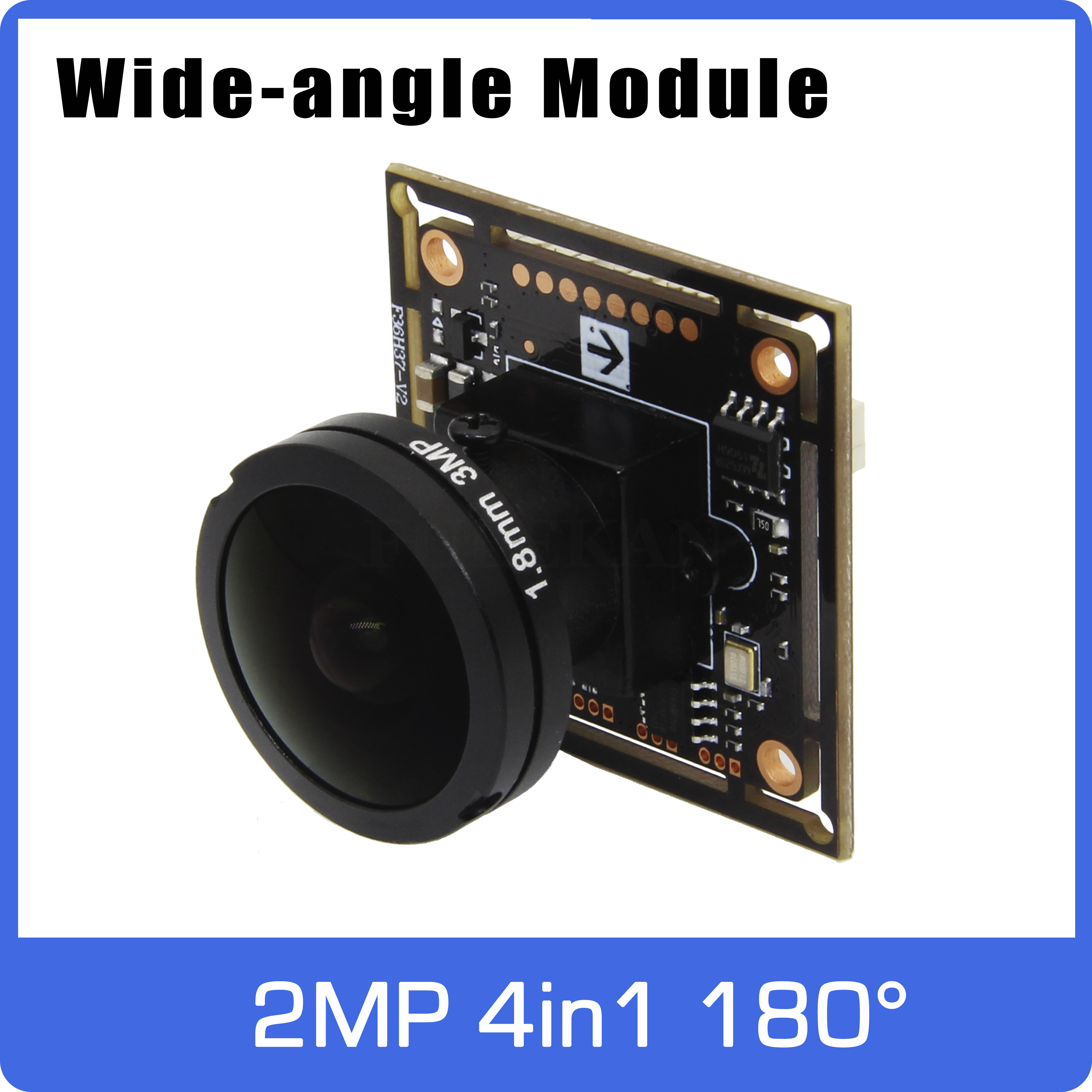 Super Wide-angle Panoramic AHD Camera Of 180 Degrees  4in1 Module Board With Fisheye Lens UTC Coaxial OSD Control 11 Languages