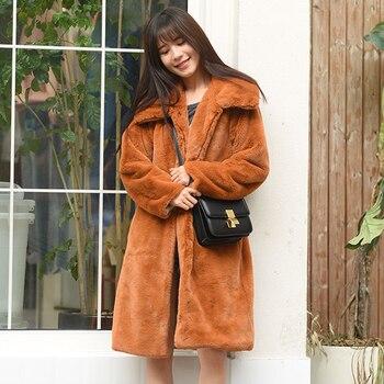 Savabien/2019 зимние женские куртки и пальто, однотонный искусственный мех с длинными рукавами, пальто с мехом, винтажный стиль, Harajuku, фестиваль, у