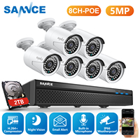 SANNCE 5MP 8CH H.264 POE CCTV Video Security System 6pcs Outdoor Nightvision Waterproof IP Camera Home Video Surveillance System