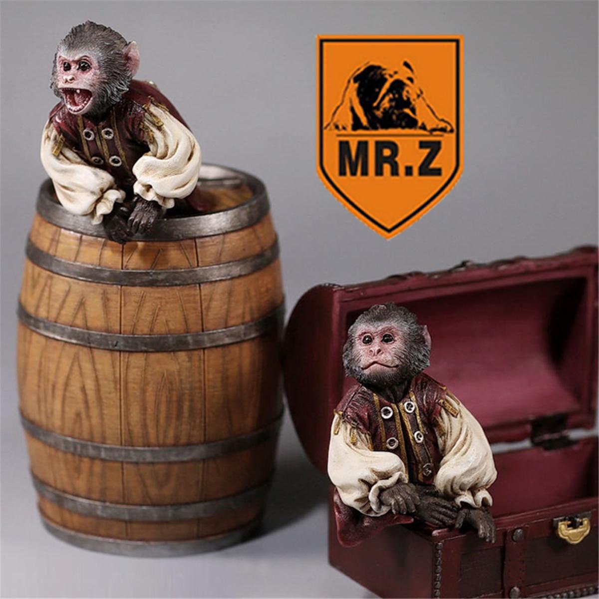 Mr.Z Studio 1:6 Scale Pirate Monkey Bucket Box Set Healing Figure Animal Model Toy Collector Desktop Decoration Adult Gift