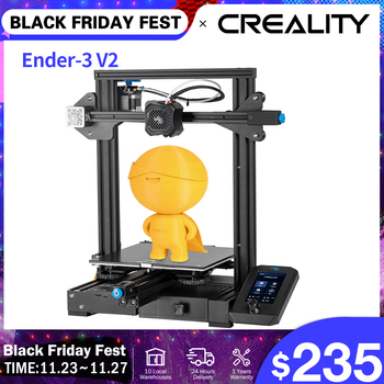 CREALITY 3D Ender-3 V2 Mainboard with silent TMC2208 stepper drivers 4.3 Inch Touch Lcd Carborundum Glass Bed 3D Printer