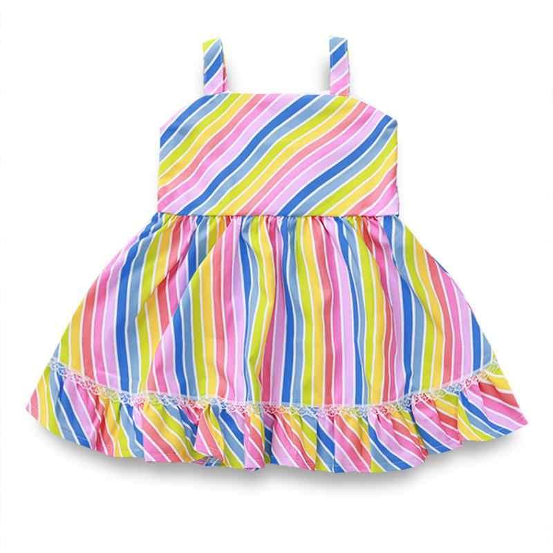 תינוק בגדי קיץ פעוט ילדה נסיכת טוטו שמלת קשת פסים קלע תחרה תחרה פסים הדפסת עבור ילד אפוד מסיבת החוף