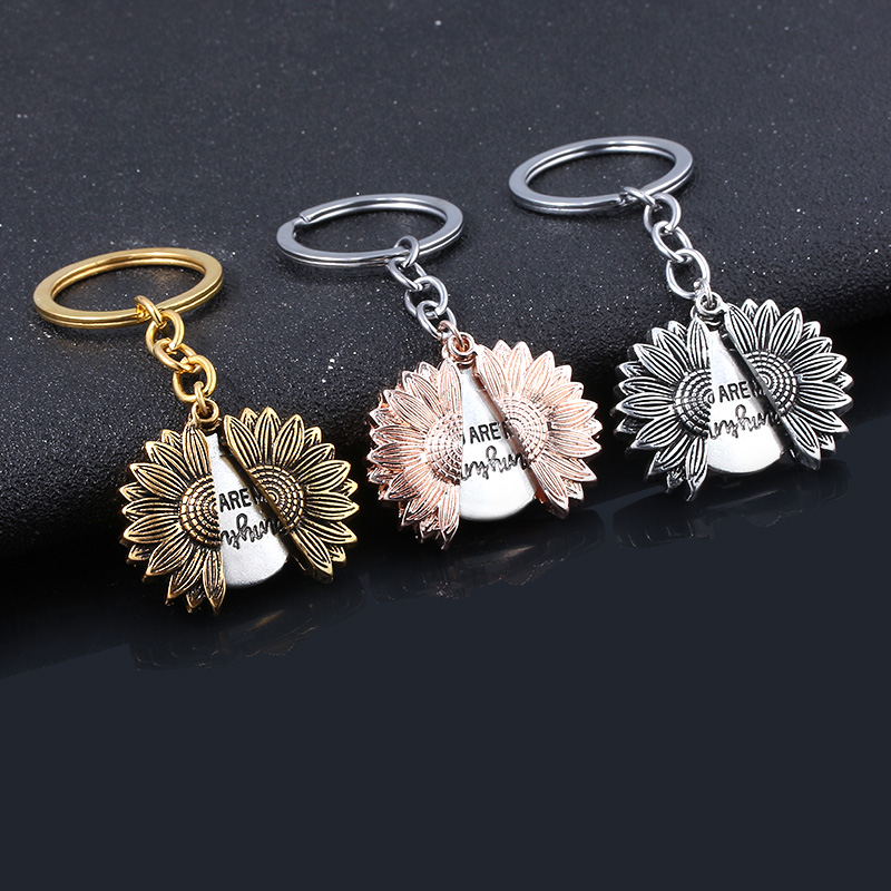 Classic Sunflower KEY CHAIN You Are My Sunshine Open Locket Letter KeyChain Men Car Women Bag Accessories Jewelry Dropshipping