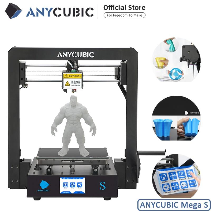 ANYCUBIC Mega-S 3D Printer I3 Mega Upgrade Large Size Metal frame TPU High Precision Touch Screen DIY 3D Printer kit impressora(China)