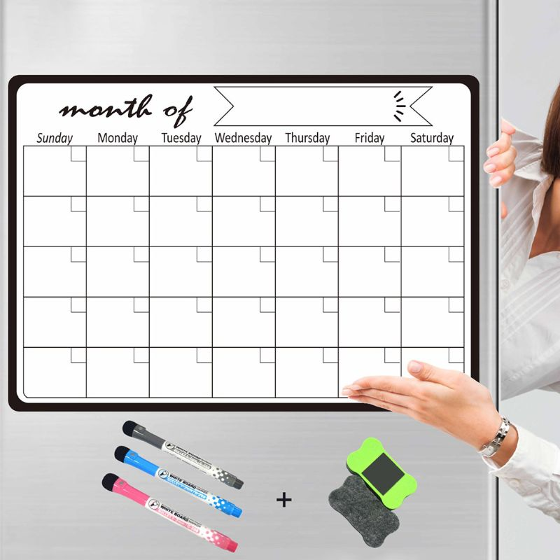 Monthly Planner Magnetic Whiteboard Fridge Magnets Drawing Message Board Remind