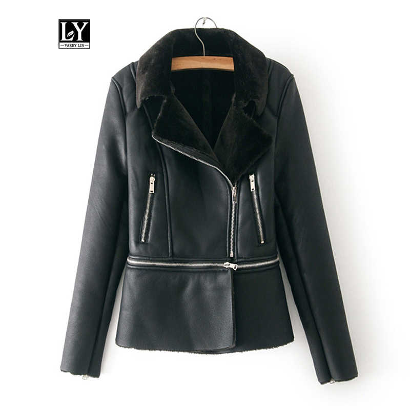 Ly Varey Lin New Winter Faux Sheepskin Coats Hem Detachable Faux Soft Pu Leather Motorcycle Zipper Lamb Fur Jacket Outerwear