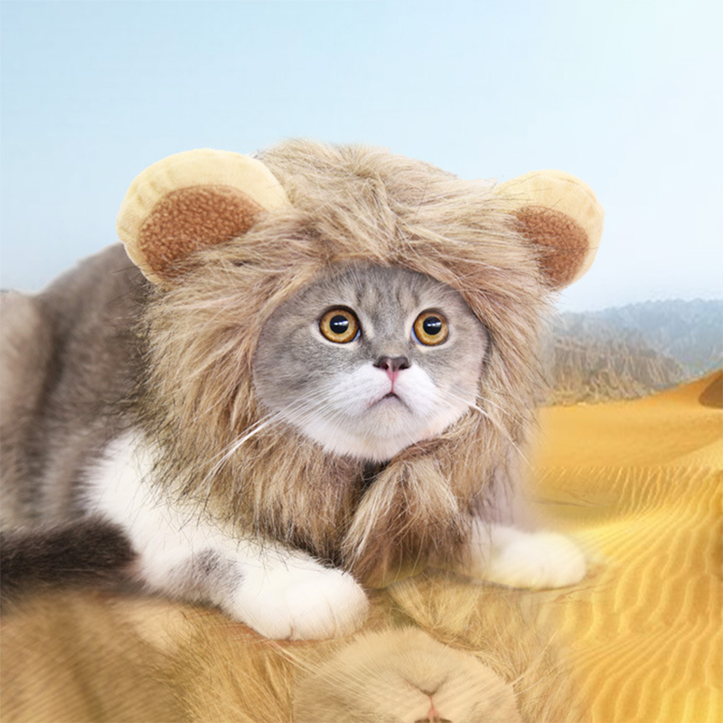 Забавная Домашняя одежда милый парик для кота Лев грива костюмы для костюмированной вечеринки; Кошка Кепка шляпа для собаки нарядное плать...
