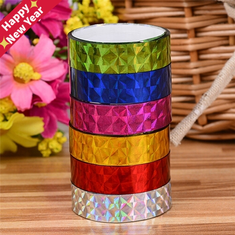 12 Rolls 2M Stickers Office Tapes DIY Colorful Laser Tape Decorative Sticky Stationery Adhesive Sticker Kids Scrapbooking Tools