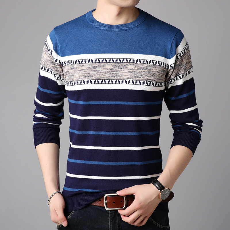 YUSHU Autumn Men's Cotton Sweater Fashion Casual Pullovers O-Neck Warm Sweaters Slim Fit Men Brand Clothing