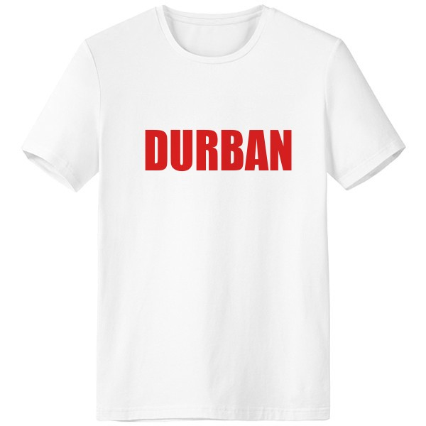<font><b>Durban</b></font> South Africa City Red White T-shirt Short Sleeve Crew Neck Sport Unisex image
