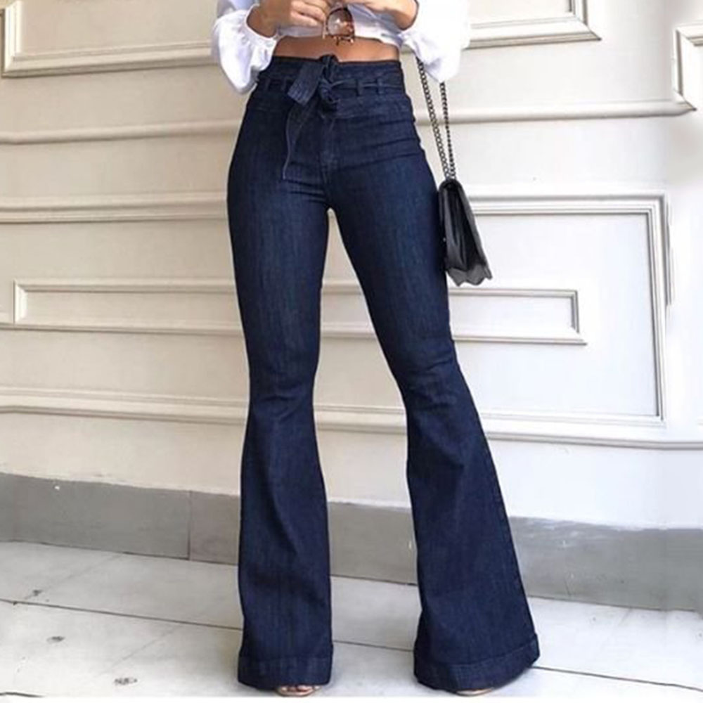 Women's Jeans High Waist Denim Flare Pants Street Style Blue Skinny Sexy Vintage Ladies Flared Trousers Bell Bottom Jeans Fall