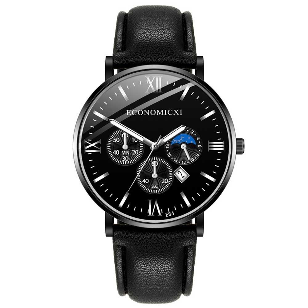 Men's Single Calendar Casual Belt Watch Business Sports Men's Quartz Watch