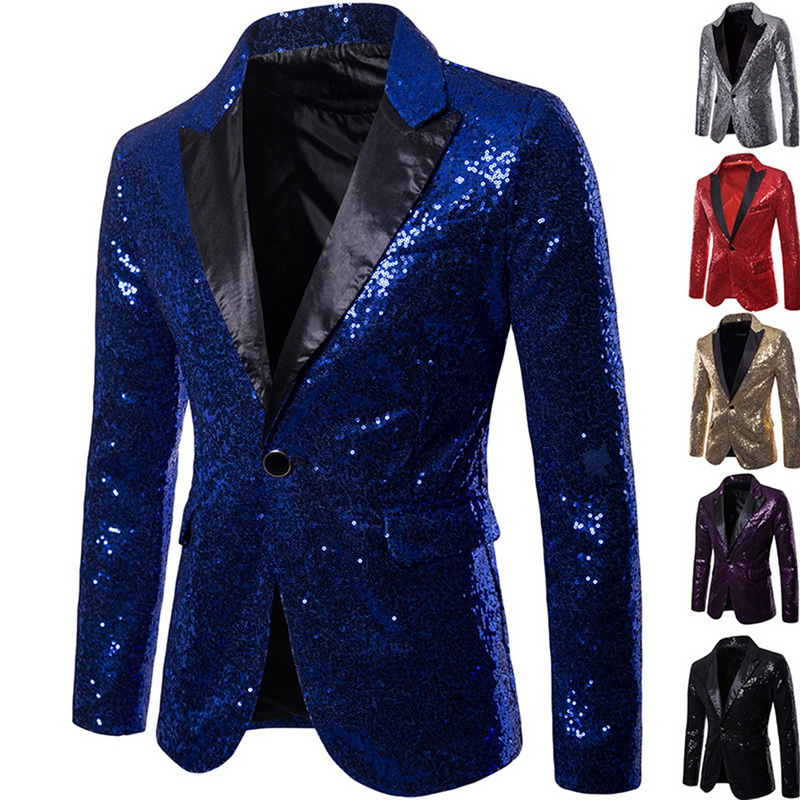 Mens Sequins Suit Blazer Jacket 2019 Brand Shiny Glitter Embellished Blazer Male Slim  DJ Club Stage Blazer  Formal Wedding
