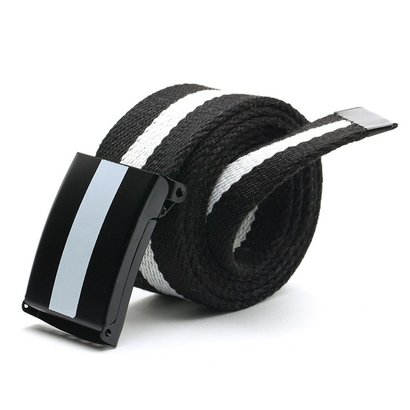 2019 New Black And White Striped Canvas Casual Belts For Men And Women Coloured Canvas Belt Students Jeans Cintos Punk