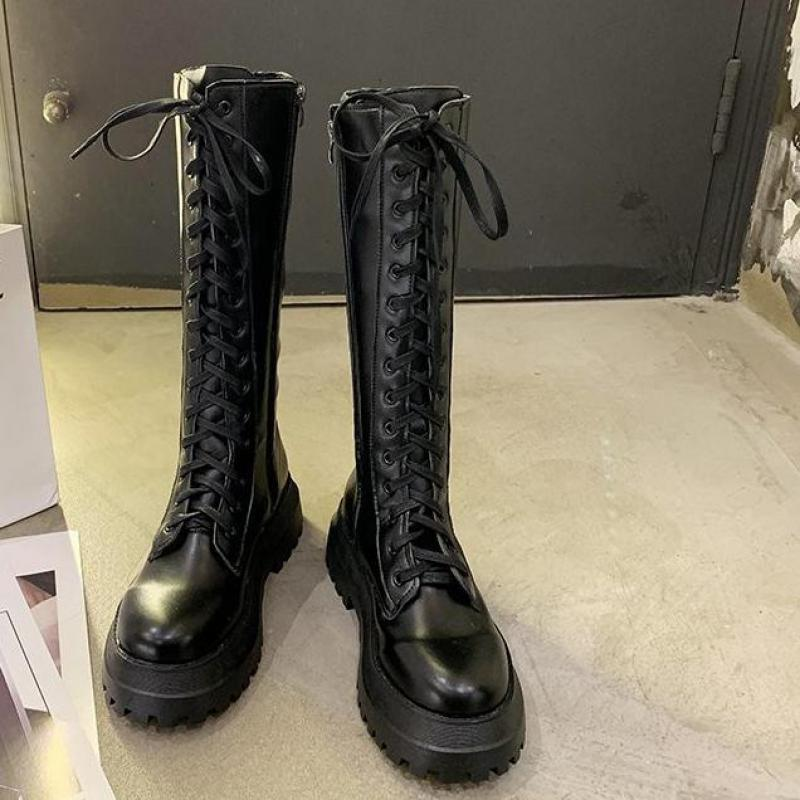 Gothic Knee Lace Up Leather Boots  2