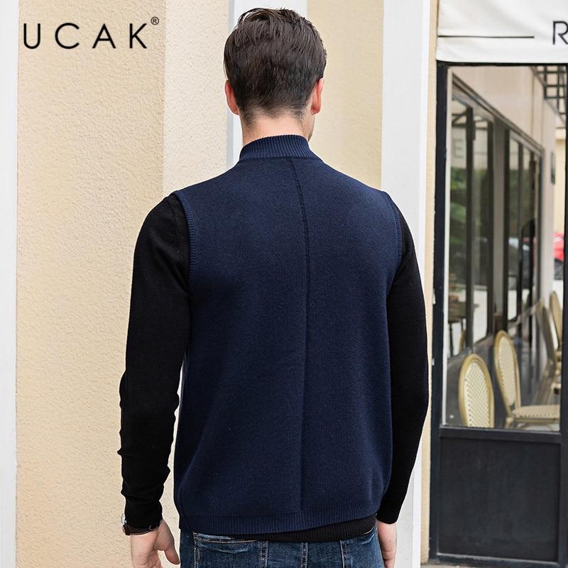 UCAK Brand Sweater Vest Men 2019 Winter Autumn Casual Zipper Solid Streetwear Pull Homme Fashion Trend Warm Sweaters Male U1028