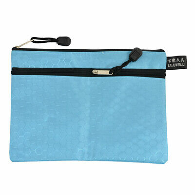 Office   Nylon 2 Compartments A5 File Document Paper Holder Zipper Bag Blue