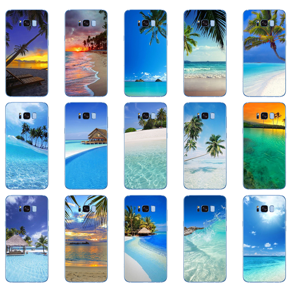 235D summer Beach Scene at Sunset on sea Palm Tree Soft Silicone Cover Case for Samsung Galaxy S6 S7 edge S8 S9 S10 plus A70 A50 image