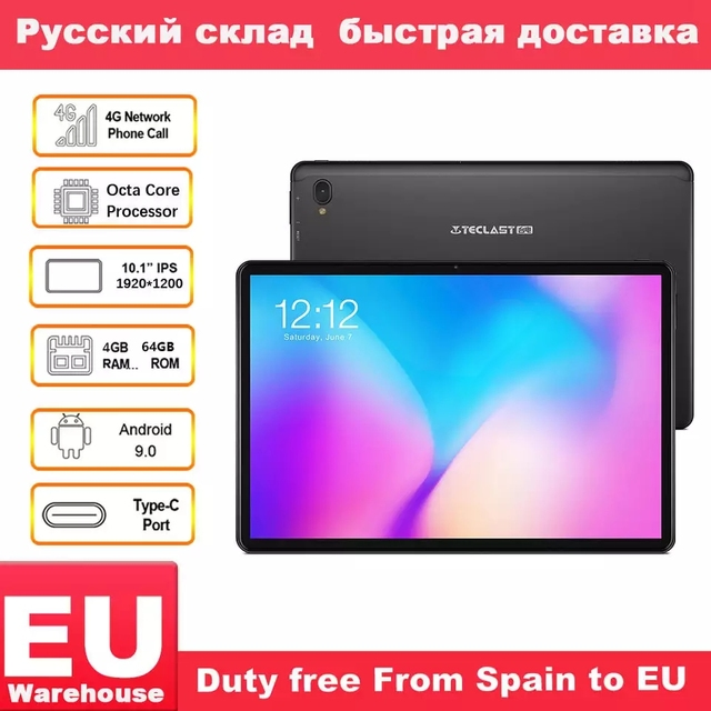 "Teclast T30 4G Phone Call Tablet Andriod 9.0 10.1"" 1920x1200 MTK P70 4GB RAM 64GB ROM Tablets PC Dual Camera GPS Type C 8000mAh"