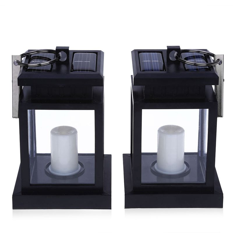 2PCS Solar Powered LED Outdoor Candle Lantern Outdoor Lamp Home Garden Decoration Light Warm White